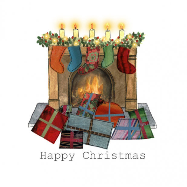 Christmas card, fireplace, presents, stockings, Merry Christmas