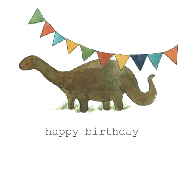 Happy Birthday Dinosaur Watercolor painting