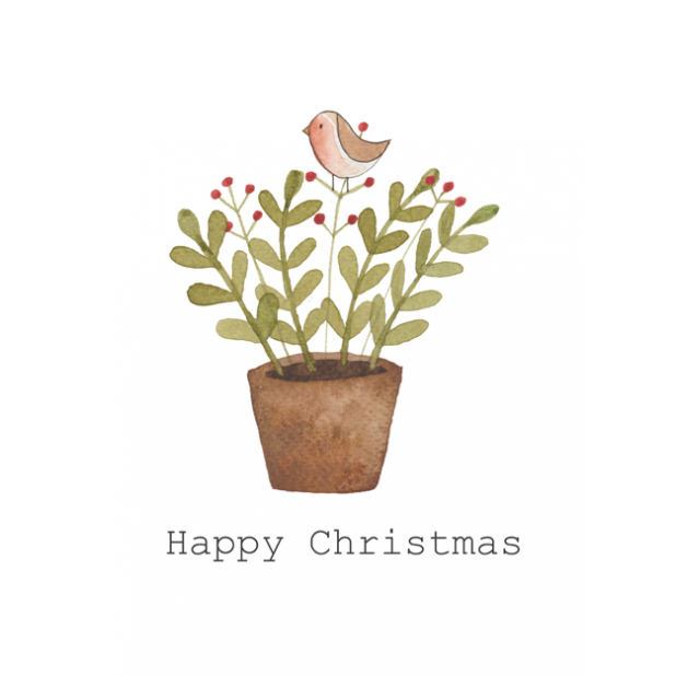 Christmas card, Robin, Christmas plant, Red fruit plant, Happy Christmas