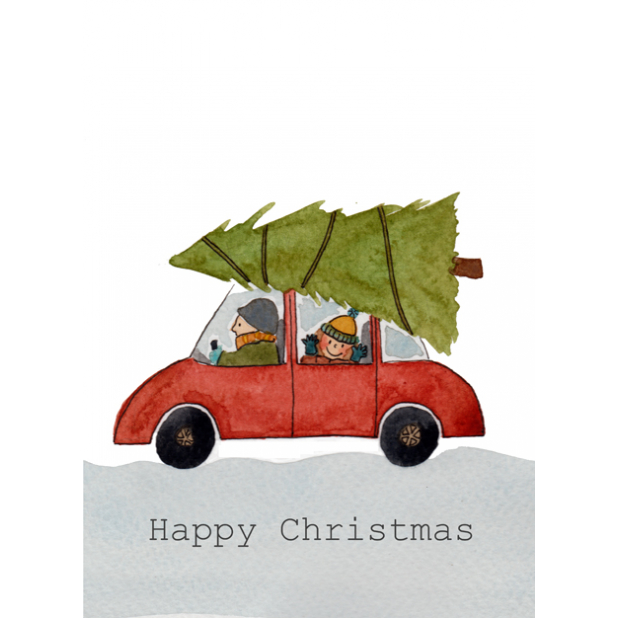 Christmas card, Tree on car, Christmas tree, Happy Christmas