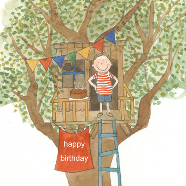 Happy Birthday Boy Tree House Watercolor painting