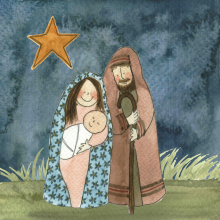 Christmas card, Nativity, Star, Bethlehem, Jesus Mary and Joseph