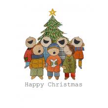 Christmas card, Caroll Singers, Christmas tree, Happy Christmas