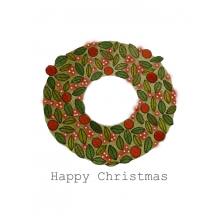 Christmas card, Christmas wreath, Happy Christmas
