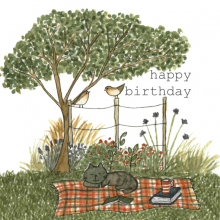 Happy Birthday Picnic Countryside Cat Watercolor painting