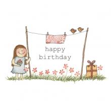 high quality birthday card for girl - design of girl in a garden