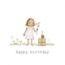 Happy Birthday Girl Flowers Presnt Cake Watercolor painting