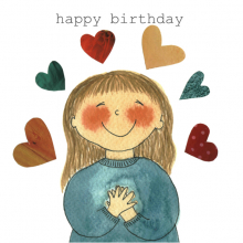 Happy Birthday Girl and hearts Watercolor painting