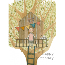 Happy Birthday Girl Tree House Watercolor painting