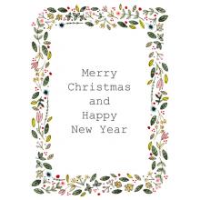 Flowers and leaves, Christmas card, Christmas, Merry Christmas, Happy Christmas