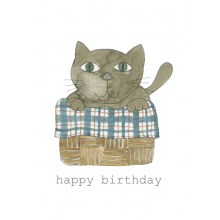 Happy Birthday Cat Basket Watercolor painting