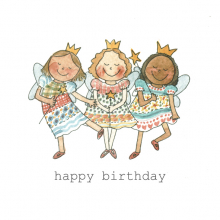 Happy Birthday 3 Happy Fairies Watercolor painting