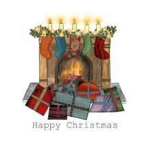 Christmas card, fireplace, presents, stockings, Merry Christmas