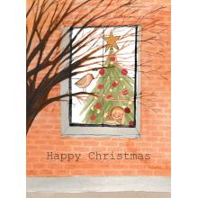 Window and robin Christmas card, Christmas, Merry Christmas, Happy Christmas